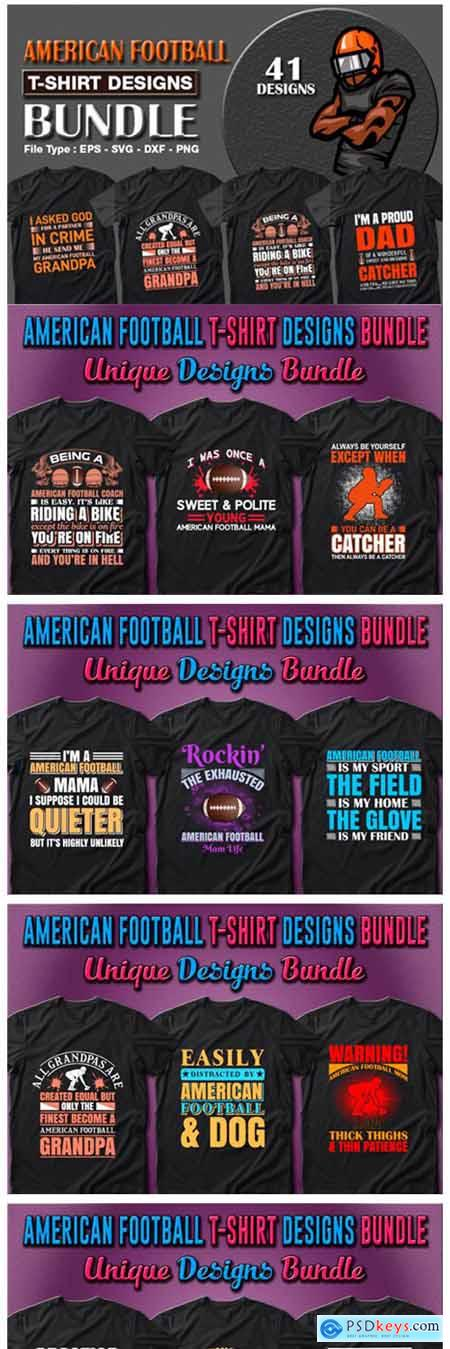 American Football T-shirt Designs Bundle 7157949