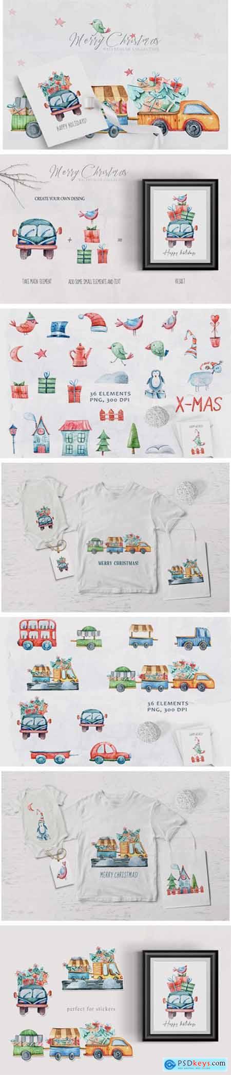 Watercolor Christmas Clipart Truck Set 6942463
