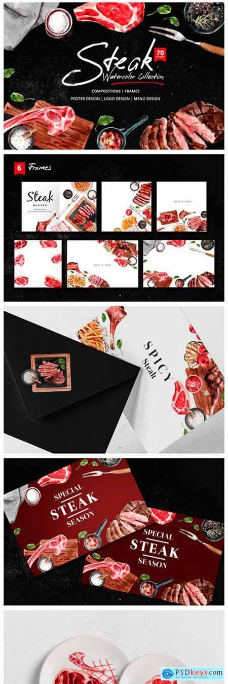 Steak Food Dinner Watercolor 6979554
