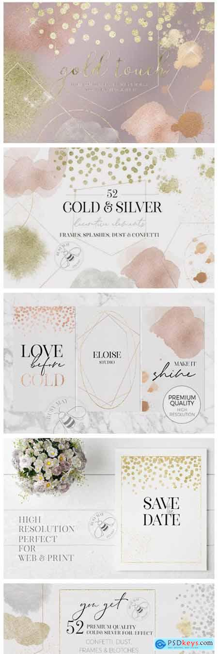 Gold Rose Gold Dust Confetti PNG Frames 6945975