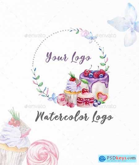 Premade Logo Cupcake, Watercolor Logo - 29436334