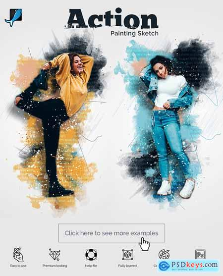 Painting Sketch Photoshop Action 29477559