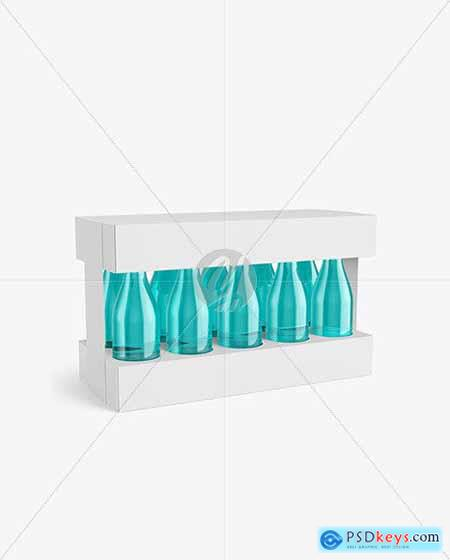 Box with 10 Glass Bottles Mockup 72297