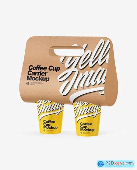 Kraft Coffee Cup Carrier Mockup 72471