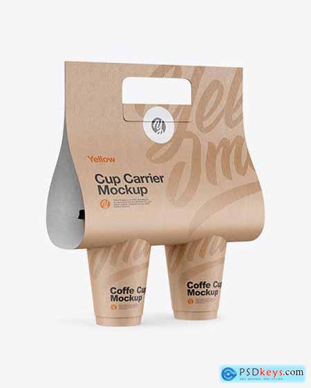 Kraft Coffee Cup Carrier Mockup 72565