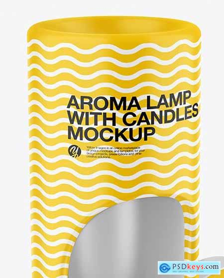 Matte Aroma Lamp with Candles Mockup 72537