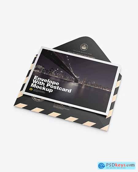 Matte Envelope w- Postcard Mockup 72602