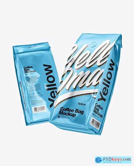 Two Glossy Metallic Coffee Bag Packagin Mockup 72520