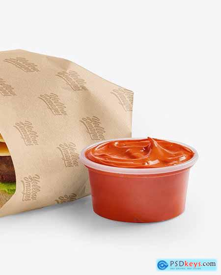 Wrapped Burger with Sauce Mockup 72519