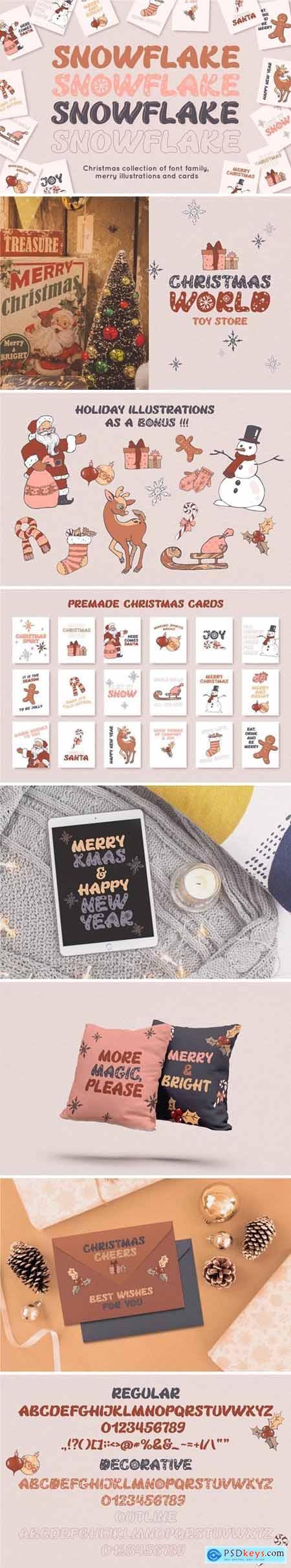 CreativeMarket - Snowflake Christmas font family 5539934