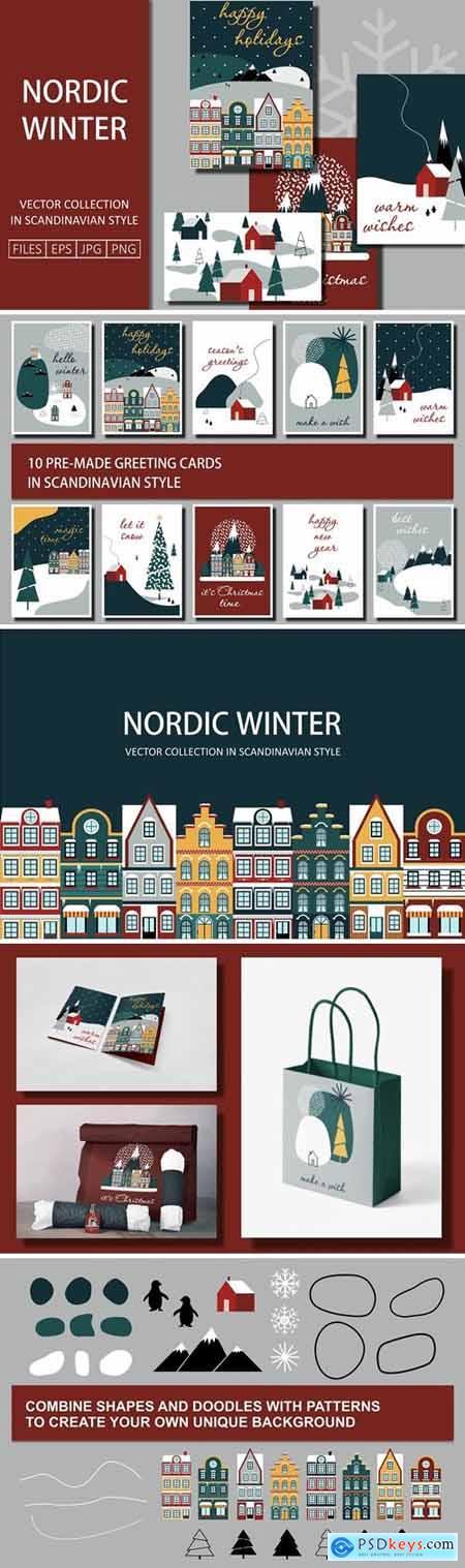 CreativeMarket - Nordic Winter Greeting Cards 5601863