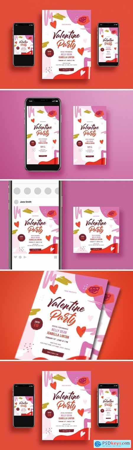 Valentines Day Party Flyer Set GGU4L5M
