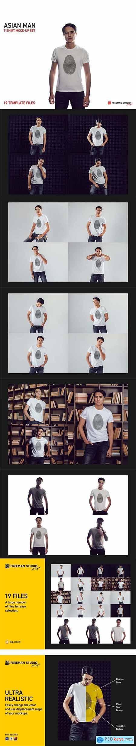Asian Man T-Shirt Mock-Up Set 5728693