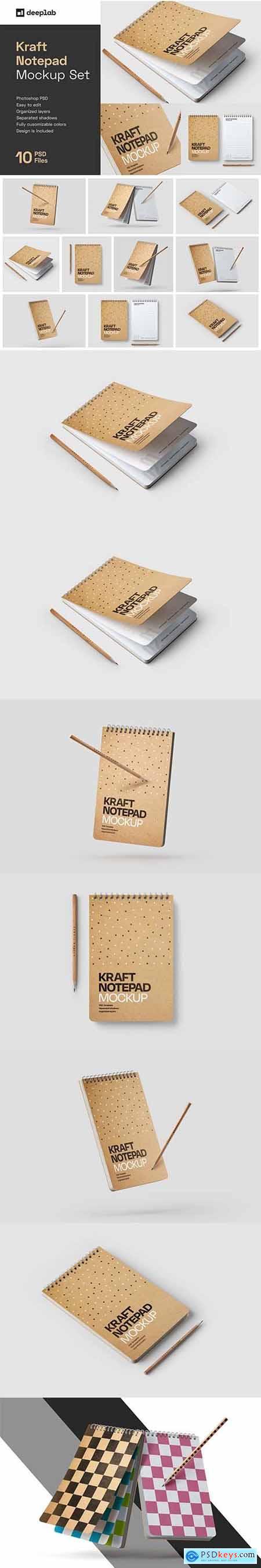 Kraft Notepad Mockup Set, Sketchbook 5708587