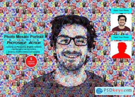 Photo Mosaic Portrait PS Action 5577465
