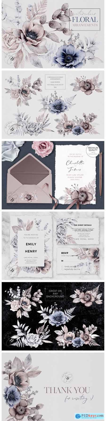 Watercolor Flower Arrangements Florals 6984272