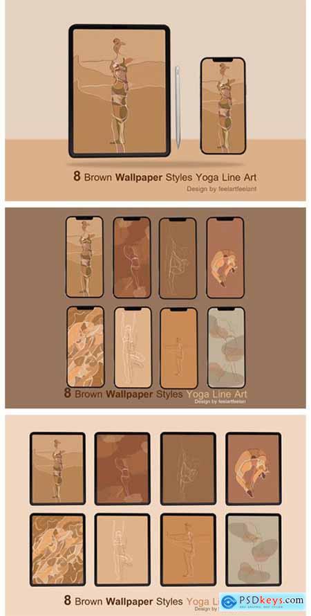 Digital Wallpaper Brown Yoga Line Art 7152933