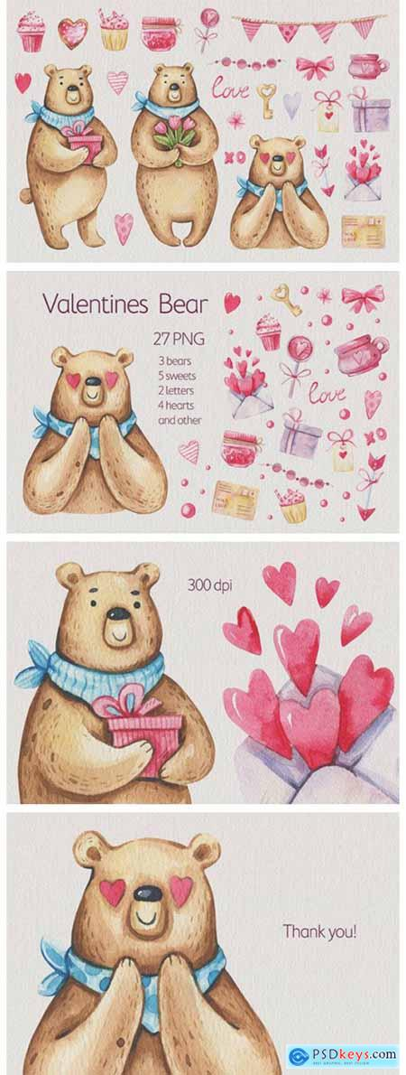 Watercolor Valentines Day Clipart 7071325