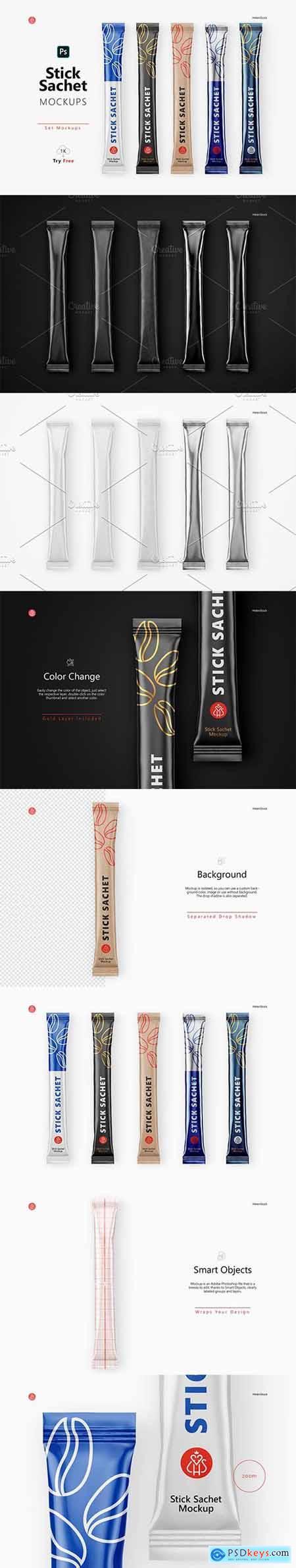 Creativemarket Stick Sachet Mockup - Top View 5734220