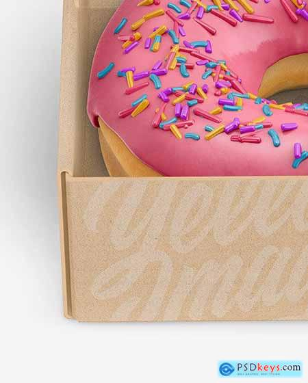 Opened Kraft Box with Donut Mockup 72709