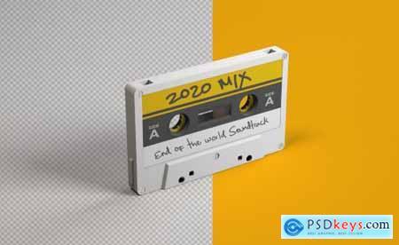 Retro Audio Cassette Tape Mockup
