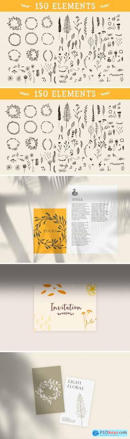 150 Floral Graphic Elements