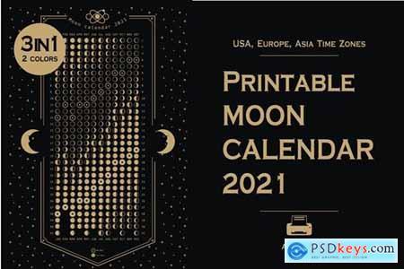 Printable 2021 Moon phases calendar