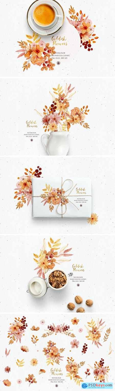 Goldish Flowers - watercolor set