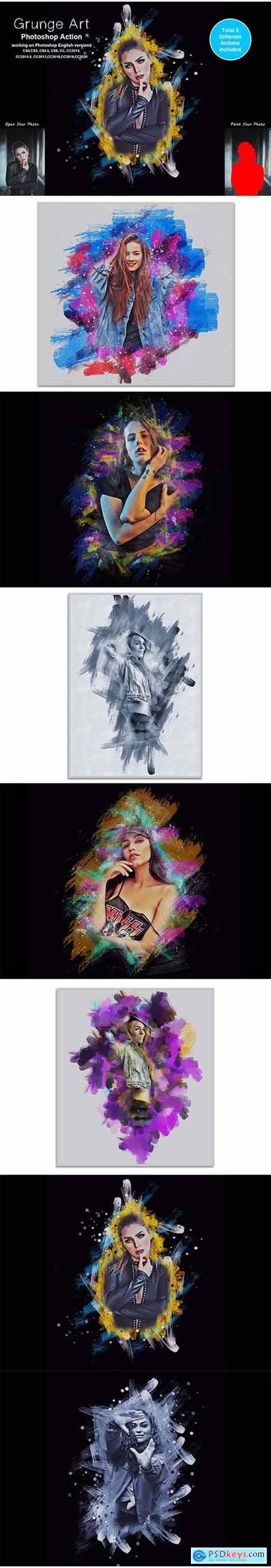 Grunge Art Photoshop Action 5442223