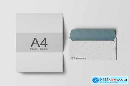A4 Paper & DL Envelope Mockup