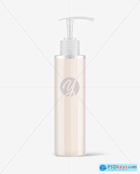 Clear Cosmetic Bottle with Pump Mockup 72747