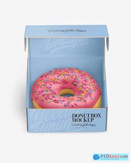 Opened Paper Box with Donut Mockup 68857