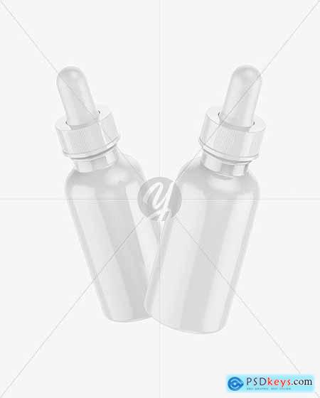 Two Glossy Dropper Bottles Mockup 72740