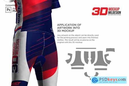 3D Mens Cyling Jersey Kit Mockup 5557266