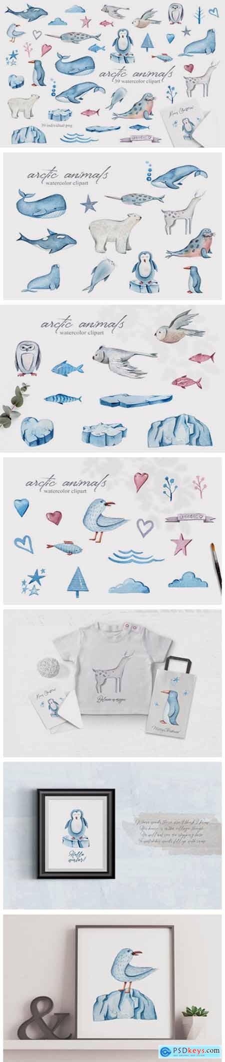 Watercolor Arctic Animals Clipart 7187574