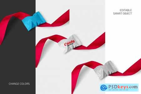 Candy with Red Ribbon Mockup Set 5742416
