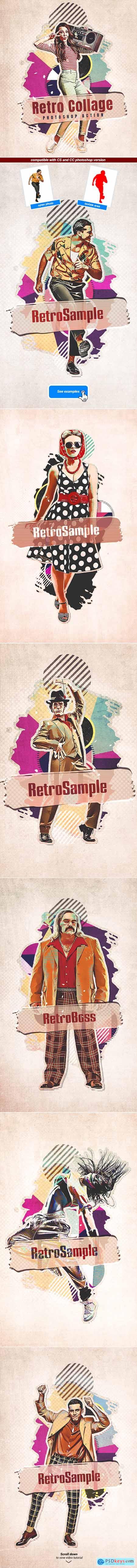 Retro Collage - Photoshop Action 29506190