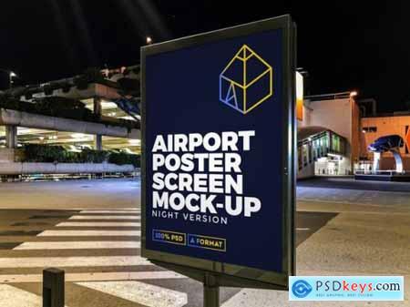 Airport night street billboard mockup