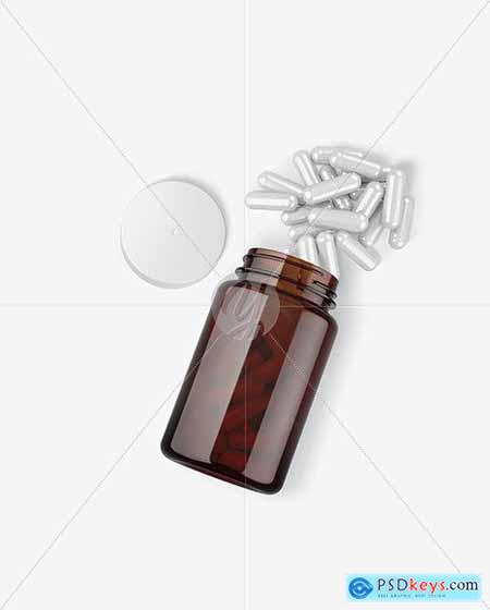 Amber Bottle with Pills Mockup 72970