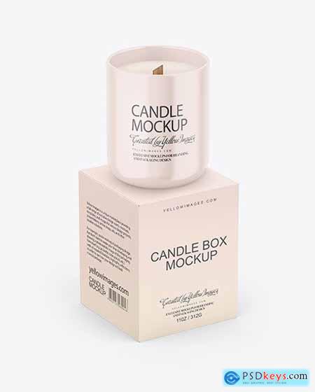 Paper Box W- Glossy Candle Mockup 72883