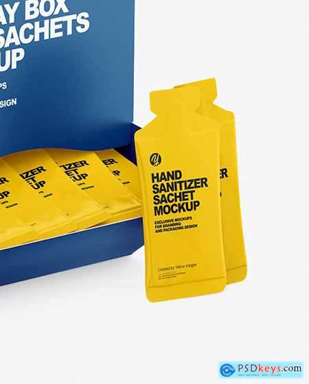 Paper Box with Hand Sanitizer Sachets Mockup 71825
