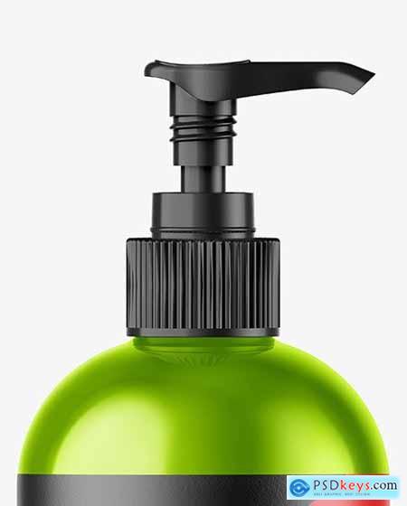 Metallic Bottle w- Open Pump Mockup 72846