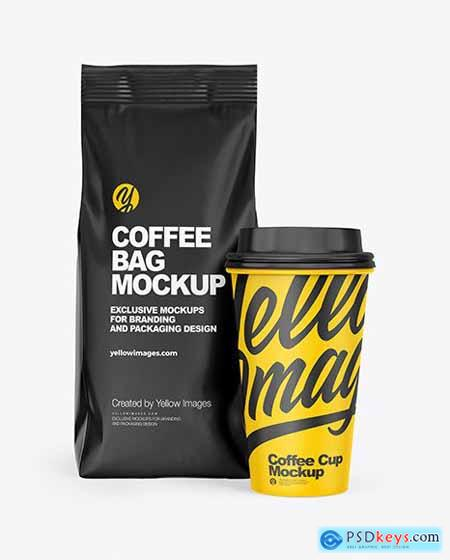Matte Coffee Bag with Cup Mockup 72956
