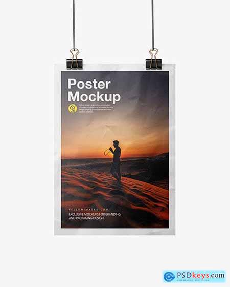 Crumpled Poster A4 w- Pins Mockup 72591