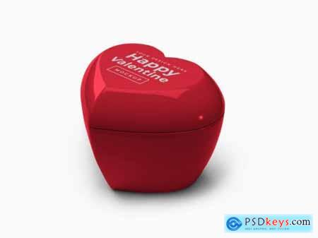 Valentine love heart container with lid mockup