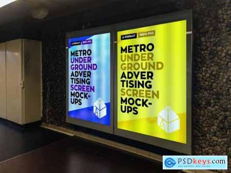 Metro underground advertising billboard mockup