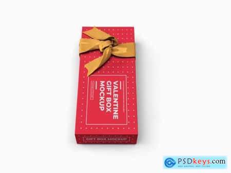 Valentine gift box mockup