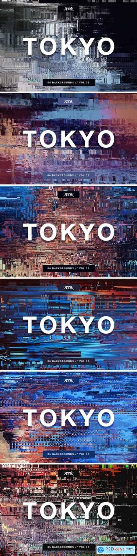 Tokyo- City Glitch Backgrounds - Vol.08