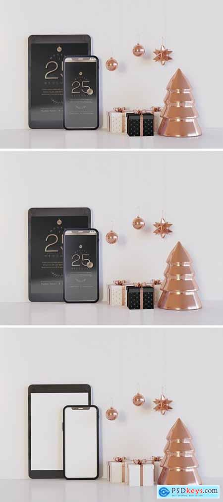 Tablet and Smartphone Mockup with Xmas Decoration
