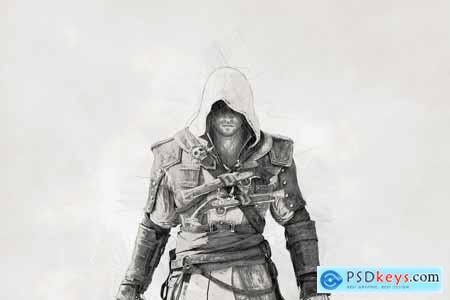 Programmers Digital Art Sketch PSA 5319335